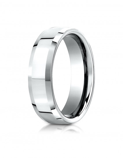 10k White Gold 6mm Comfort-Fit High Polished Carved Design Band
