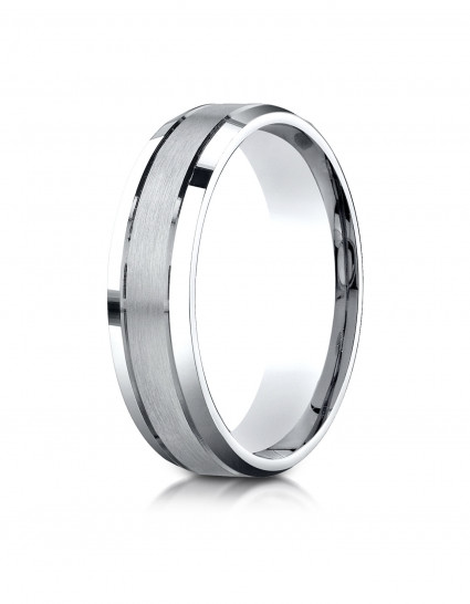 10k White Gold 6mm Comfort-Fit Satin-Finished High Polished Beveled Edge Carved Design Band