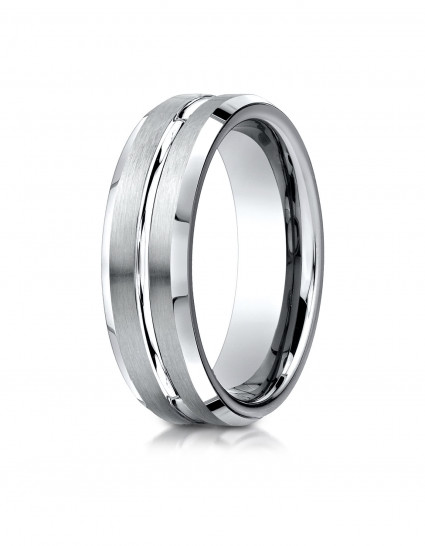 Comfort-Fit Satin-Finished with High Polished Cut Carved Design Band