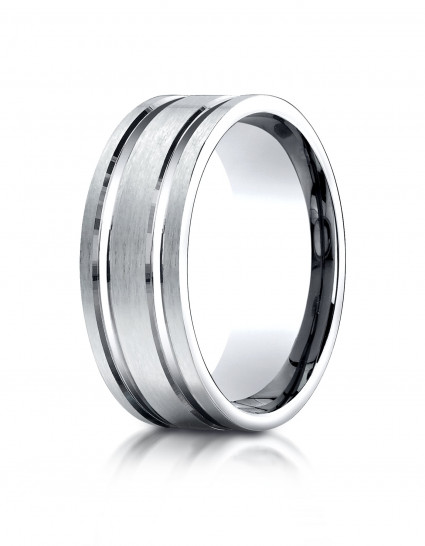 10k White Gold 8mm Comfort-Fit Satin-Finished with Parallel Grooves Carved Design Band | Aura Diamonds