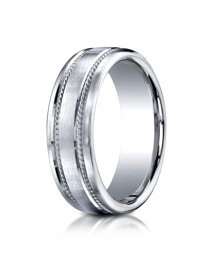 14k White Gold 7.5mm Comfort-Fit Satin-Finished Rope Carved Design Band