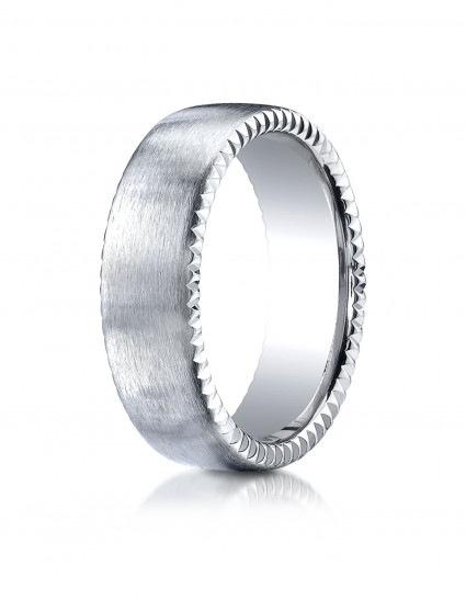14k White Gold 7.5mm Comfort-Fit Satin-Finished Rivet Coin Edging Carved Design Band