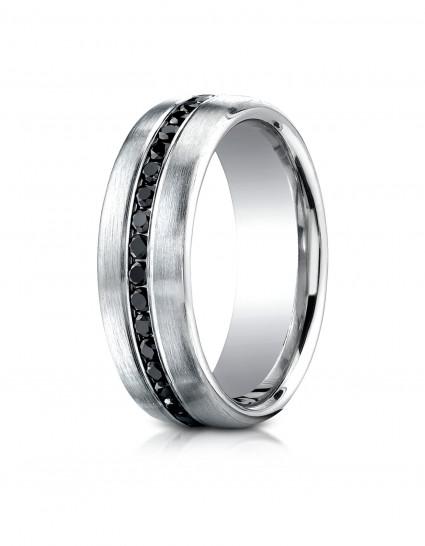 14k White Gold 7.5mm Comfort-Fit Burnish Set 20-Stone Black Diamond Ring (0.40ct)