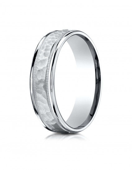 10K White Gold 6mm Comfort-Fit Hammered Center High Polish Round Edge Carved Design Band
