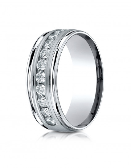 14k White Gold 8mm Comfort-Fit Channel Set 12-Stone Diamond Eternity Ring (0.96ct)