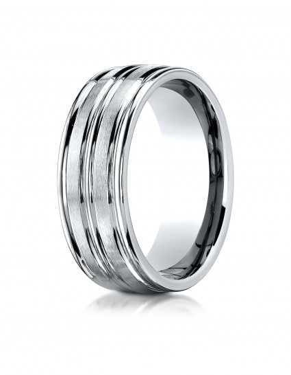 10k White Gold 8mm Comfort-Fit Satin-Finished High Polished Center Trim and Round Edge Carved Design Band