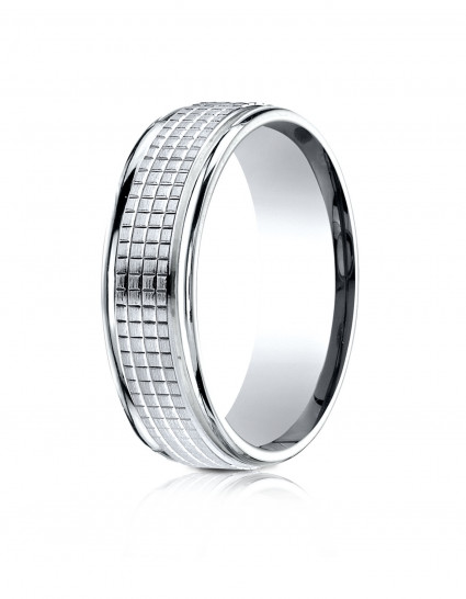 10k White Gold 7mm Comfort-Fit High Polish Round Edge Cross Hatch Center Design Band