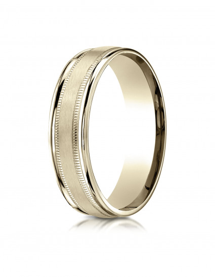 10k Yellow Gold 6mm Comfort-Fit Satin Finish Center with Milgrain Round Edge Carved Design Band