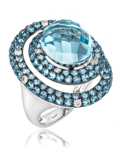 Double Halo Round Chandelier Cut Aquamarine Ring | AR14-262