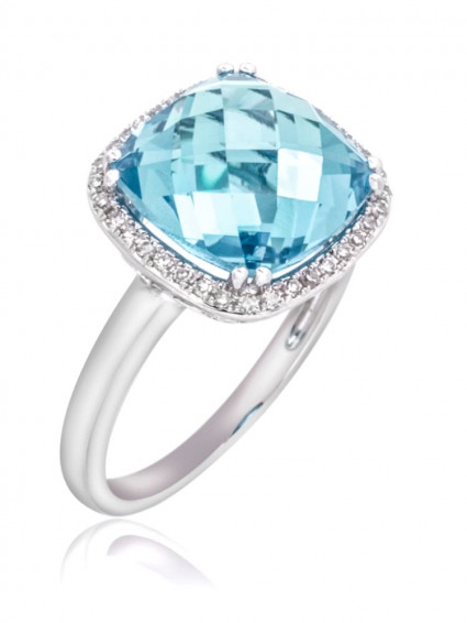 Cushion Chandelier Halo Aquamarine Ring | AR14-263
