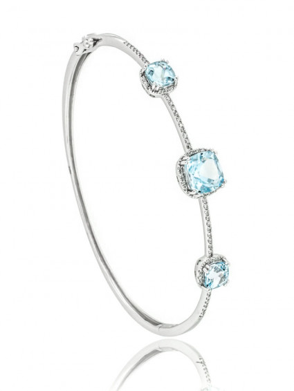 Three Stone Halo Aquamarine Bangle Bracelet | AB14-001