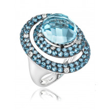 Double Halo Round Chandelier Cut Aquamarine Ring