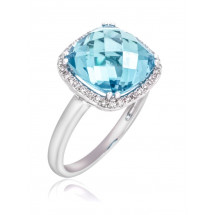 Cushion Halo Aquamarine Ring