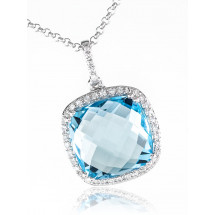 Halo Cushion Chandelier Aquamarine Pendant