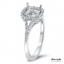 Cushion Halo Engagement Ring for 0.75ct Stone