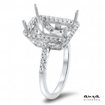 Rectangular Engagement Ring with Halo for 7ct Stone