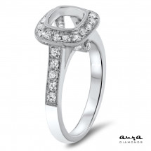Cushion Halo Engagement Ring for 1.25ct Center Stone