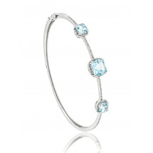 Three Stone Halo Aquamarine Bangle Bracelet