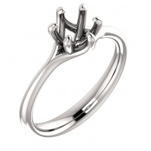 18kt White Gold Modern Solitaire Engagement Ring