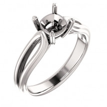 10kt White Gold Modern Split Shank Solitaire Engagement Ring