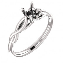 10kt White Gold Infinity Solitaire Engagement Ring