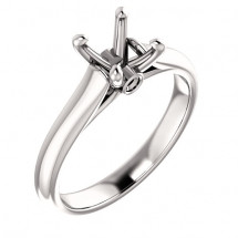18kt White Gold Modern Cathedral Solitaire Engagement Ring