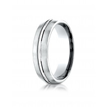 Comfort-Fit Satin-Finished with High Polished Center Cut Design Band