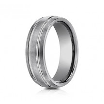 7mm Tungsten Ring With Three Rows of Satin Finish