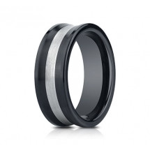 8mm Ceramic Concave Ring With Silver Inlay