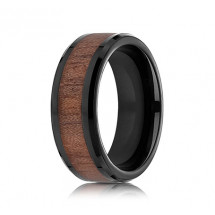8mm Wood Grain Black Cobalt Ring