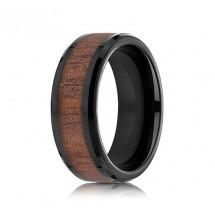 8mm Wood Grain Black Cobalt Ring