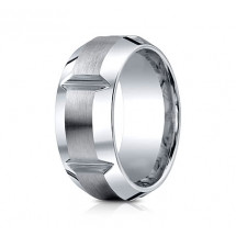 10mm Cobalt Ring With Satin Finish Sections & Beveled Edge