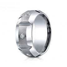 10mm Cobalt Ring With Satin Finish Sections & Three Diamonds | ACF610990CC