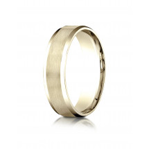 10k Yellow Gold 6mm Comfort-Fit Satin-Finished with High Polished Beveled Edge Carved Design Band | Aura Diamonds