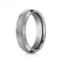 6mm Tungsten Ring With Satin Finish & Beveled Edges