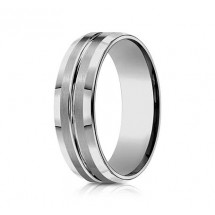 7mm Tungsten Ring With Satin Finish & High Polished Center