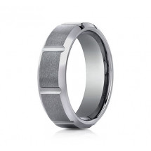 7mm Tungsten Ring With Satin Finish Sections & Beveled Edge