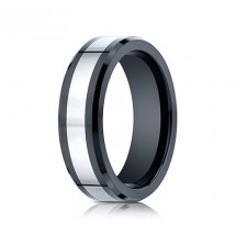 7mm Cobalt Ring With Ceramic Beveled Edge