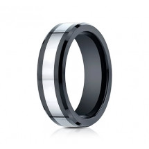 7mm Tungsten Ring With Ceramic Beveled Edge