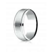 10k White Gold 7mm Comfort-Fit Drop Bevel Swirl Finish Center Design Band