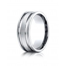 10k White Gold 8mm Comfort-Fit Satin-Finished with Parallel Grooves Carved Design Band