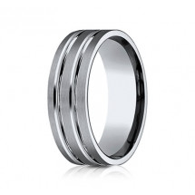 8mm Titanium Ring With Satin Finish & Two High Polished Rows