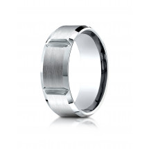 Comfort-Fit Satin-Finished Grooves Carved Design Band
