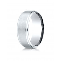 10K White Gold 8mm Comfort-Fit Satin-Finished Drop Beveled Edge Carved Design Band