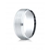10K White Gold 8mm Comfort-Fit Satin-Finished Drop Beveled Edge Carved Design Band