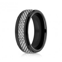 8mm Black Cobalt with White Carbon Fiber Ring