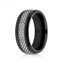 8mm Black Cobalt with White Carbon Fiber Ring