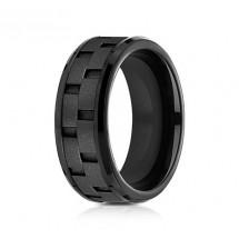8mm Black Titanium Brick Set Ring