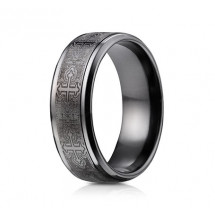 9mm Black Titanium Ring with Cross Designs | ATICF69100BKT