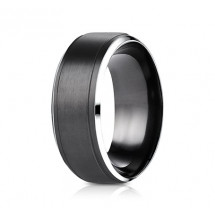 9mm Black Cobalt Ring With Satin Center & Beveled Edge